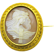 18k Etruscan gold signed cameo of Minerva or Athena with owl and crescent moon