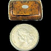 19th Century miniature burl wood snuff box fashion doll sized
