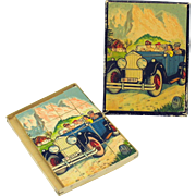 Vintage German 2 sided early Motor Car and Steam train puzzle