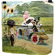 Schwab & Co NY printed cloth pillow cover Black Lady and Driver in corn cob car with watermelon wheels