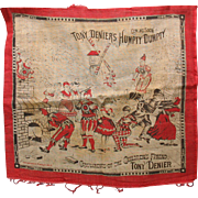 Tony Denier 1870's printed advertising hankerchief for Circus Carnival Side Show Humpty Dumpty Clown