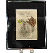 Vintage Louis Icart bookplate engraving Woman feeding dove with grape from her mouth