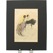 Vintage Louis Icart bookplate engraving 2 Art Deco Women with feathers