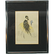 Vintage Louis Icart bookplate engraving Art Deco Flapper woman with feathers
