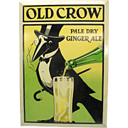 Vintage Old Crow Ginger Ale tin litho advertising sign