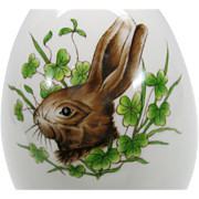 Large vintage Herend porcelain Egg box with painted Rabbit portrait 6041