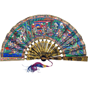 "Antique hand painted Chinese ""thousand faces"" fan with lacquer sticks & guards"