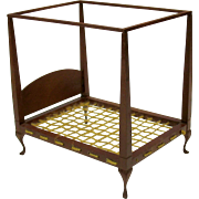 Artist made vintage dollhouse miniature cherry wood 4 poster rope bed