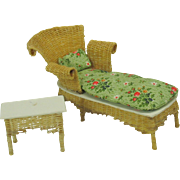 Vintage dollhouse miniature Chaise Lounge and table signed by Susan Fisher 1981