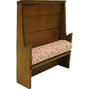 Vintage Colonial dollhouse miniature wood settle bench with high back artist signed G. MCL