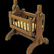 Vintage dollhouse miniature wood rocking cradle artist signed