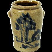 1983 Dollhouse miniature blue decorated salt glaze crock with house & tree