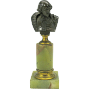 Grand Tour cabinet miniature bronze bust on marble pedestal-good for dollhouse
