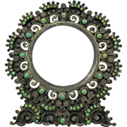 Vintage Mexican silver and green turquiose stone picture frame
