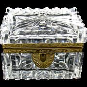 Vintage cut glass lead crystal dresser box casket