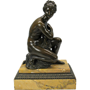 Big Grand Tour bronze Nude seated on turtle on marble and bronze base