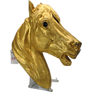 Big gilded zinc Horse head trade sign with glass eyes probably French