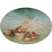 Exceptional Limoges porcelain portrait plaque reclining nude with roses hand painted