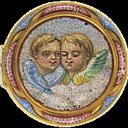 Antique 18k gold finest micro mosaic brooch pin of cherubs
