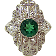 Stunning Art Deco Platinum, emerald and diamond ring size 7