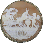 Large antique carved shell cameo of cherubs in goat cart pendant or brooch