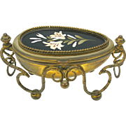 Palais Royal Pietra Dura & ormolu egg shaped dresser box Grand Tour