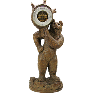 """Huge carved Black Forest wood Bear with glass eyes holding barometer 26"""" tall"""