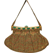 Fine vintage Art Deco brocade silk Ladies purse handbag-S on frame