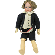 "Simon and Halbig German bisque boy doll 9"" needs restringing"