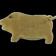 Early German velevet velveteen pig needle case pincushion