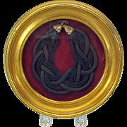 Large Victorian woven hair bracelet-framed