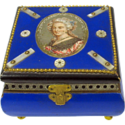 19th Century French Chocolate or bon bon box casket with Ladies portrait