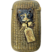 Unusual cold painted vesta match safe Cat in a basket with hang tag