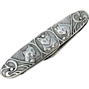 Victorian Ladies pocket knife with Cats-silver plated
