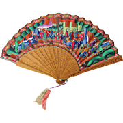Very unusual shape antique Chinese 1000 faces Ladies fan