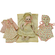 Kestner 178 barefoot all bisque doll with 3 original outfits