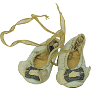 Pair of original blue kid leather 0 sized doll shoes