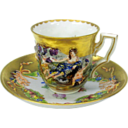 Capodimonte blown out gilded demi tasse cup and saucer #A