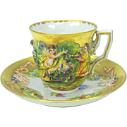 Capodimonte blown out gilded demi tasse cup and saucer #B