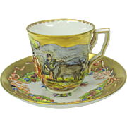 Capodimonte blown out gilded demi tasse cup and saucer #C