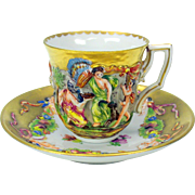 Capodimonte blown out gilded demi tasse cup and saucer #D