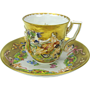 Capodimonte blown out gilded demi tasse cup and saucer #E