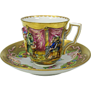 Capodimonte blown out gilded demi tasse cup and saucer #F