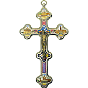 Large vintage Micro mosaic wall hanging Crucifix cross 8 by 4 inches