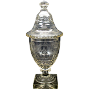19th Century engraved glass lidded urn with bellflowers and swags