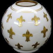 Antique miniature gilded white glass globe oil lamp shade with Fleur de Lis