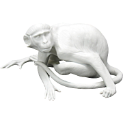 Nymphenburg large white bisque Monkey designed by Karner