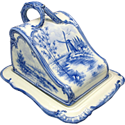 Royal Bonn Dutch Delft porcelain cheese dish keeper blue/white