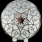 "Fancy antique silver overlay glass trivet 7"""
