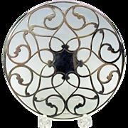 "Fancy antique silver overlay glass trivet 6"""
